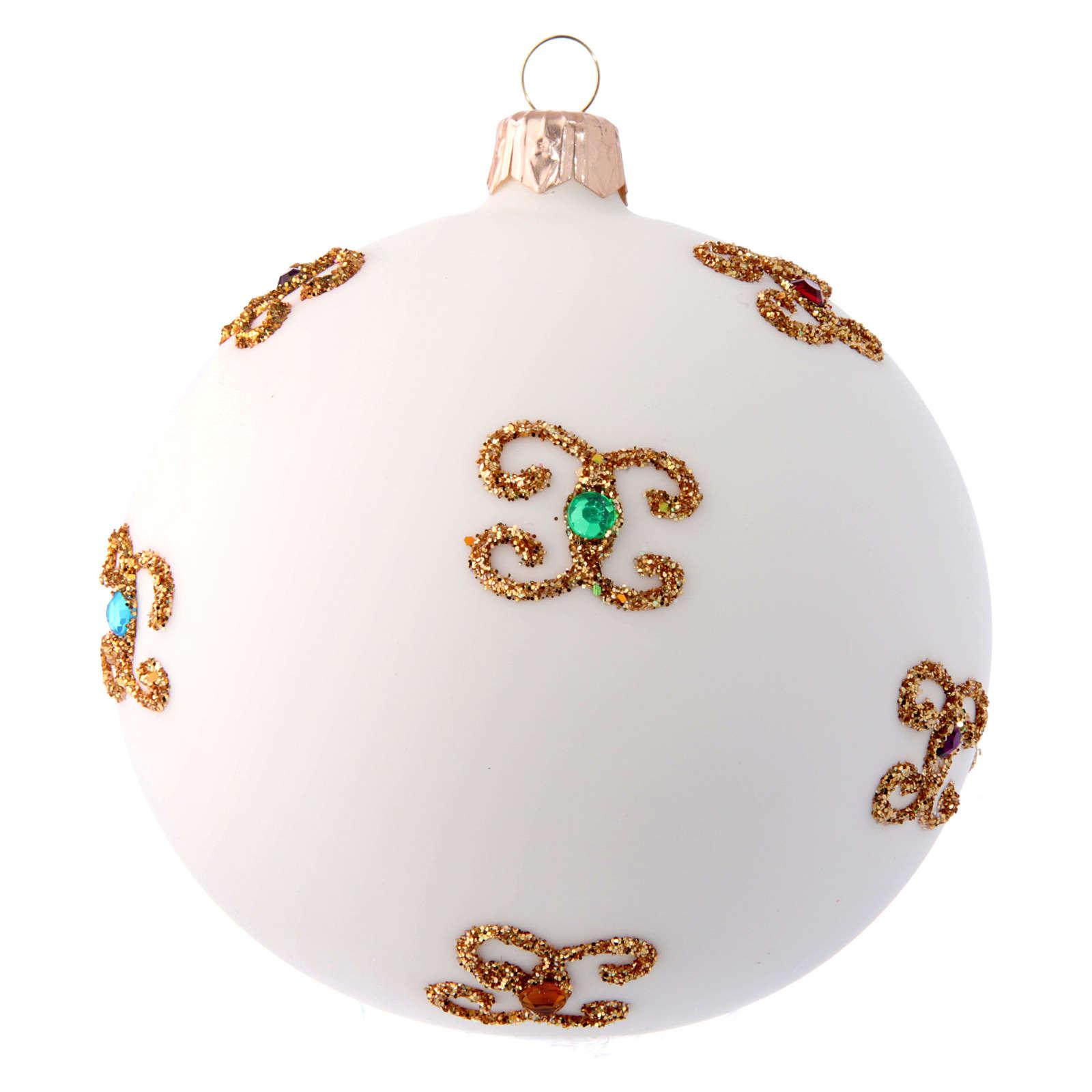 Palla natalizia bianca in vetro soffiato e decori dorati 100 mm 4