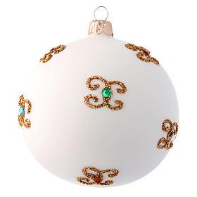 Palla natalizia bianca in vetro soffiato e decori dorati 100 mm s2