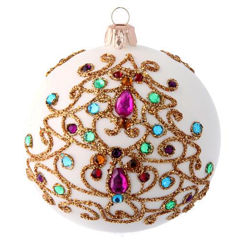 Palla natalizia bianca in vetro soffiato e decori dorati 100 mm 1