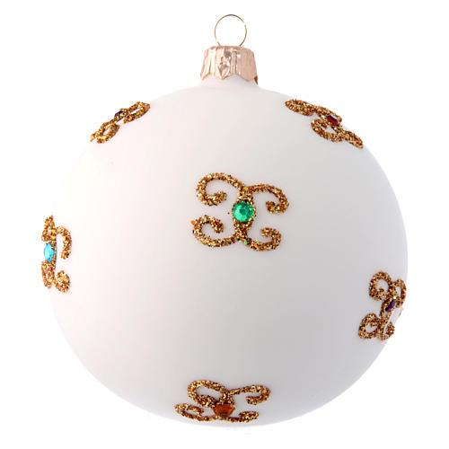 Palla natalizia bianca in vetro soffiato e decori dorati 100 mm 2