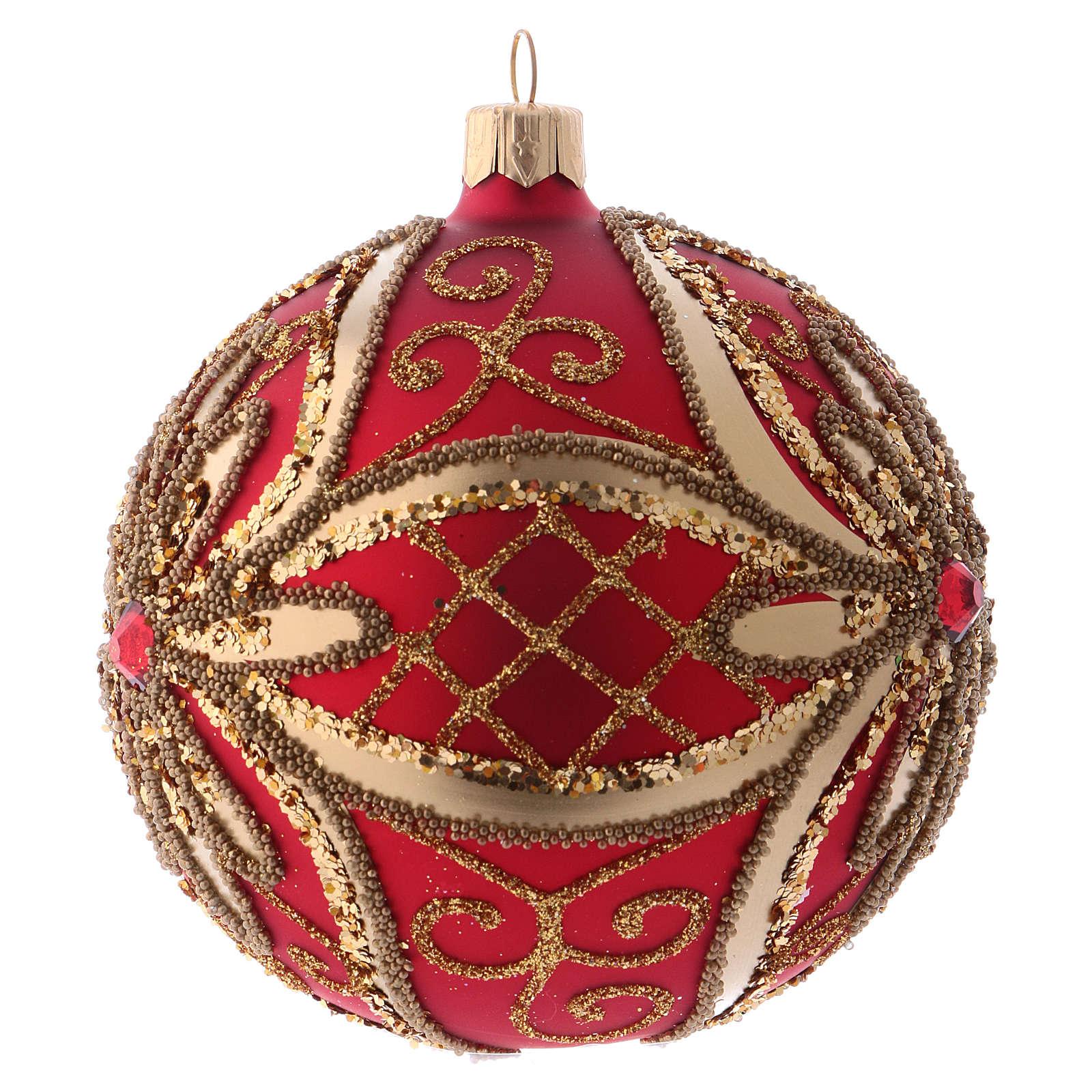 Bola Árbol de Navidad  blanca 100 mm vidrio soplado rojo y oro 4