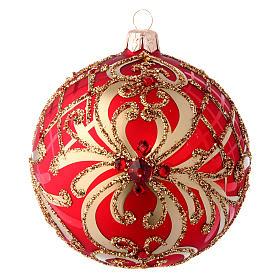 Bola Árbol de Navidad  blanca 100 mm vidrio soplado rojo y oro s1
