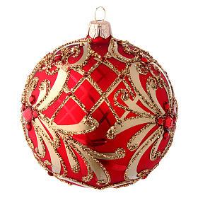 Bola Árbol de Navidad  blanca 100 mm vidrio soplado rojo y oro s2