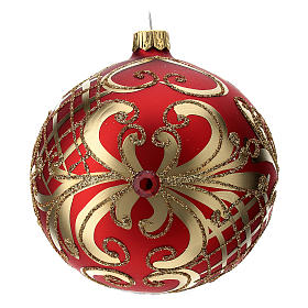 Bola Árbol de Navidad  blanca 100 mm vidrio soplado rojo y oro s4