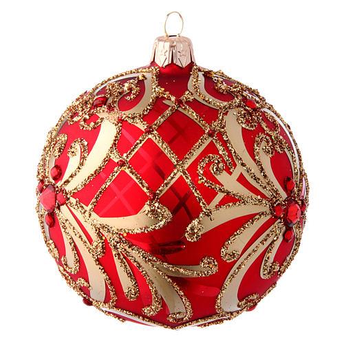 Bola Árbol de Navidad  blanca 100 mm vidrio soplado rojo y oro 2