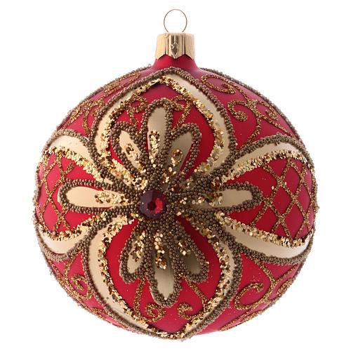 Bola Árbol de Navidad  blanca 100 mm vidrio soplado rojo y oro 1