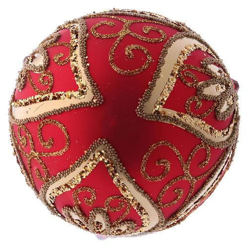 Bola Árbol de Navidad  blanca 100 mm vidrio soplado rojo y oro 3