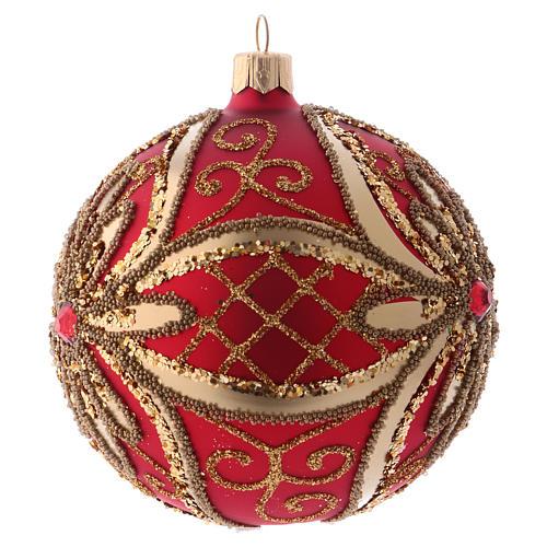 Palla albero di Natale 100 mm rosso e oro 2