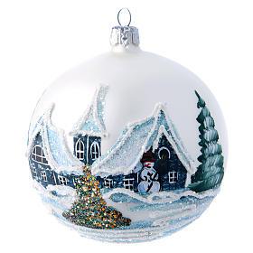 Weihnachtsbaumkugel aus mundgeblasenem Glas Grundton Weiß Motiv Winterlandschaft 100 mm s1