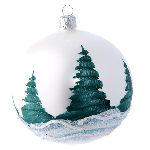 Weihnachtsbaumkugel aus mundgeblasenem Glas Grundton Weiß Motiv Winterlandschaft 100 mm 2