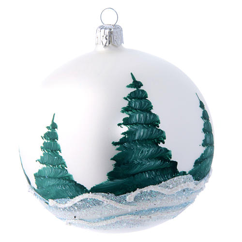 Christmas ball in white landscape and decoupage 100 mm 2