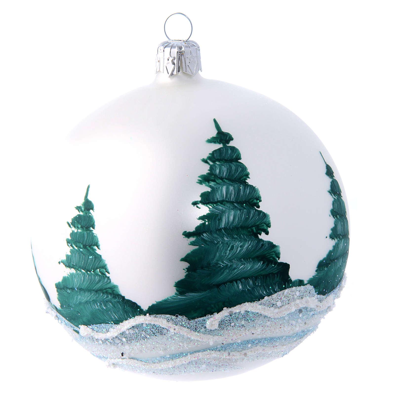 Palla natalizia paesaggio 100 mm bianco e decoupage 4