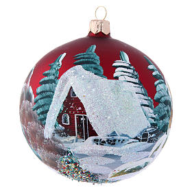 Christmas balls: Burgundy Christmas ball and houses 100 mm