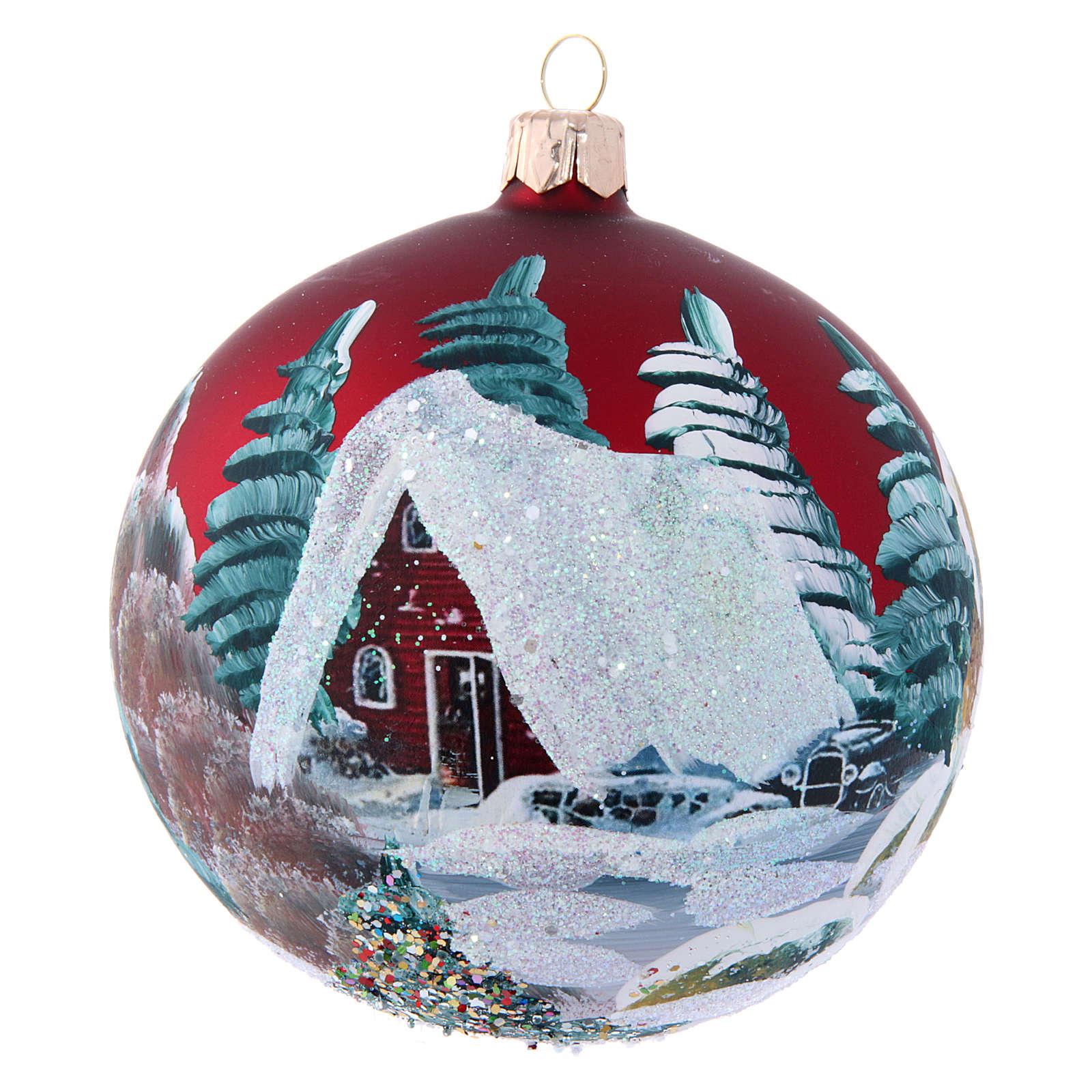 Boule pour Sapin de Noël bordeaux et maisons 100 mm 4