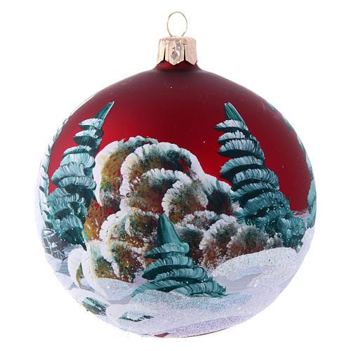 Boule pour Sapin de Noël bordeaux et maisons 100 mm 2