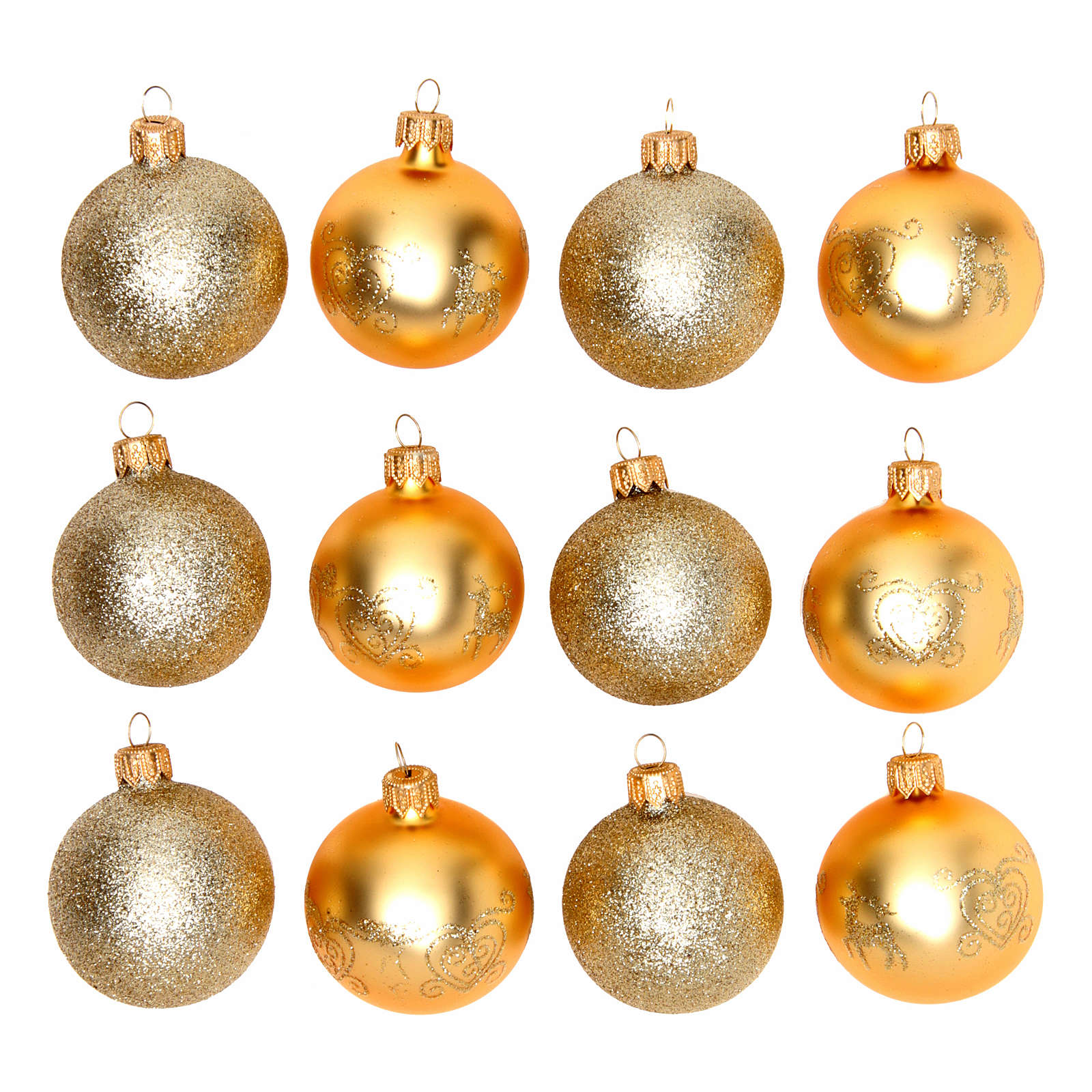 Christmas Bauble Gold Glass 60 Mm Set Of 12 Pieces