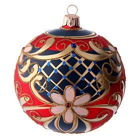 Boule en verre décoré motifs floraux rouge bleu or 100 mm s1