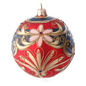 Palla in vetro decorato motivi floreali rosso blu oro 100 mm s2