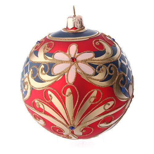 Palla in vetro decorato motivi floreali rosso blu oro 100 mm 2