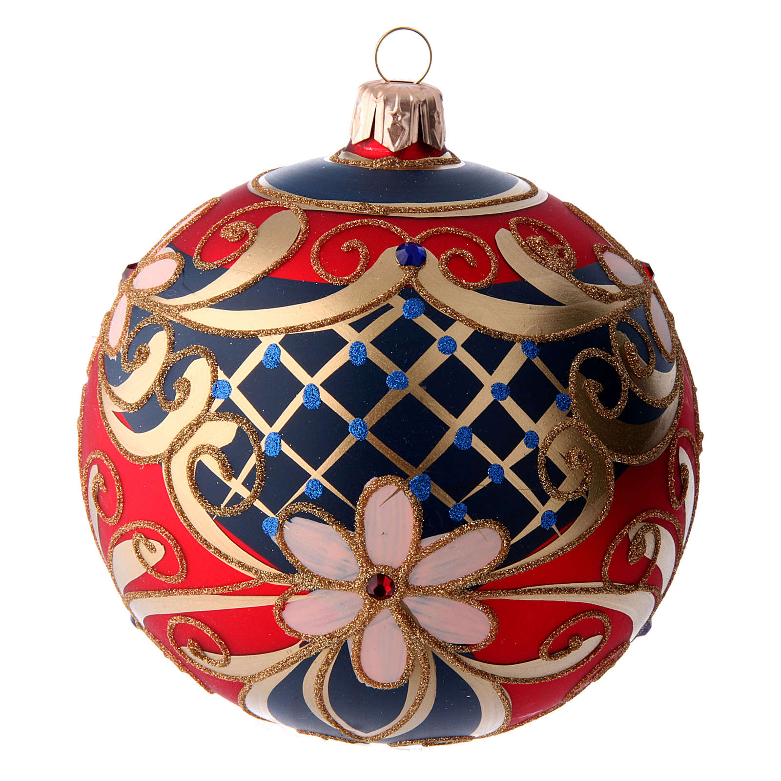 Glass ball with flower decorations coloured in red, blue and gold 100 mm 4