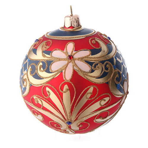 Glass ball with flower decorations coloured in red, blue and gold 100 mm 2