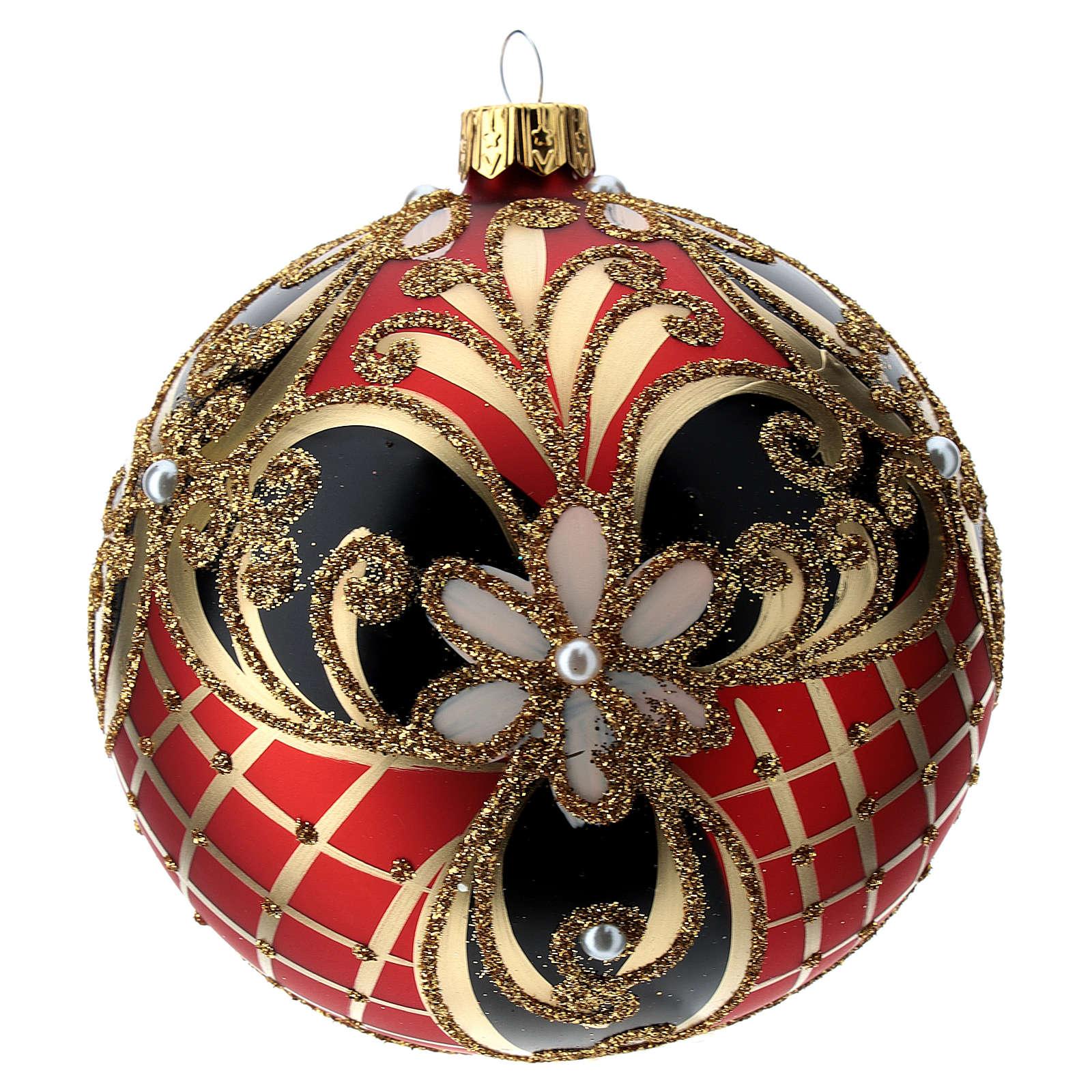 Weihnachtsbaumkugel aus Glas Grundton Rot mit blauen und goldenen floralen Motiven 100 mm 4