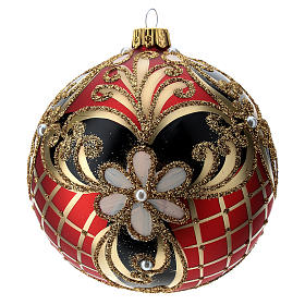 Weihnachtsbaumkugel aus Glas Grundton Rot mit blauen und goldenen floralen Motiven 100 mm s1