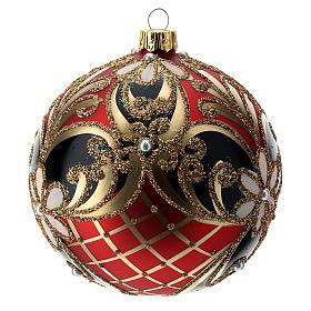 Weihnachtsbaumkugel aus Glas Grundton Rot mit blauen und goldenen floralen Motiven 100 mm s2