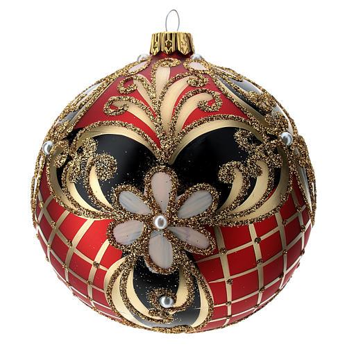 Weihnachtsbaumkugel aus Glas Grundton Rot mit blauen und goldenen floralen Motiven 100 mm 1