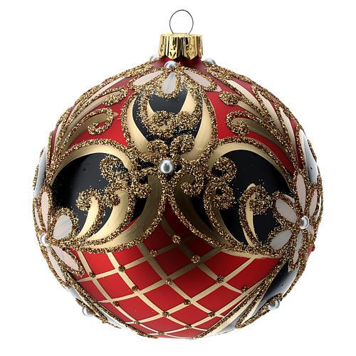 Weihnachtsbaumkugel aus Glas Grundton Rot mit blauen und goldenen floralen Motiven 100 mm 2