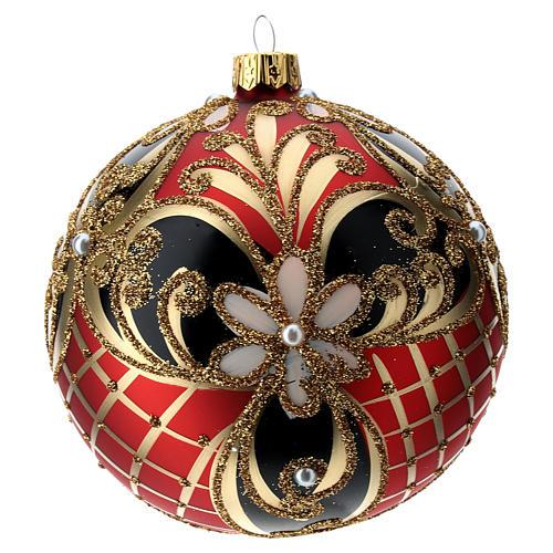 Weihnachtsbaumkugel aus Glas Grundton Rot mit blauen und goldenen floralen Motiven 100 mm 3