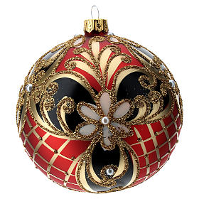 Decorated glass ball coloured in red, black and gold 100 mm s3