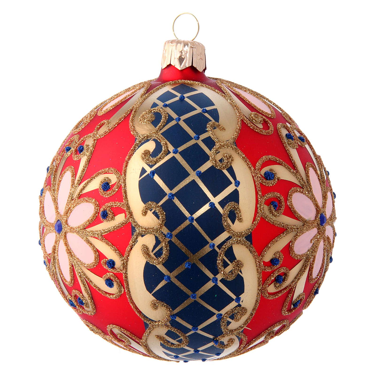 Palla in vetro decorato rosso blu oro 100 mm 4