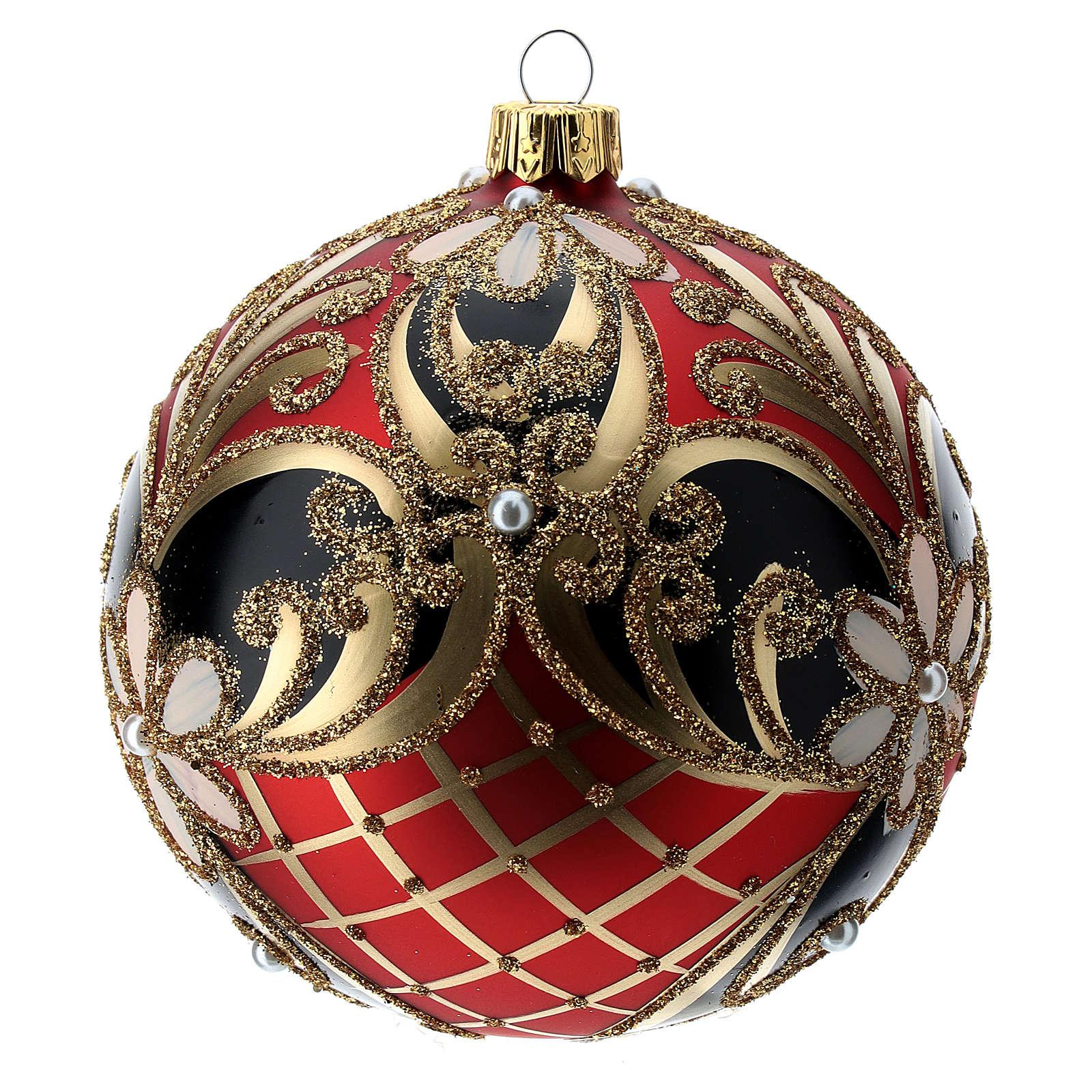 Palla in vetro decorato rosso nero oro 100 mm 4