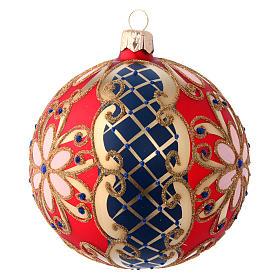 Palla in vetro decorato rosso blu oro 100 mm s2