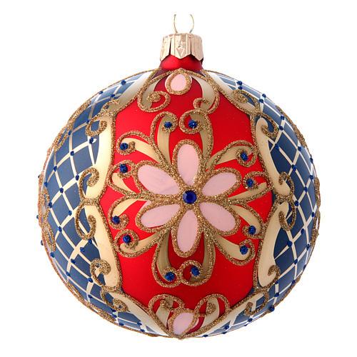 Palla in vetro decorato rosso blu oro 100 mm 1