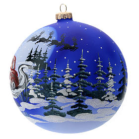 Glass ball with Father Christmas sledge 150 mm s2
