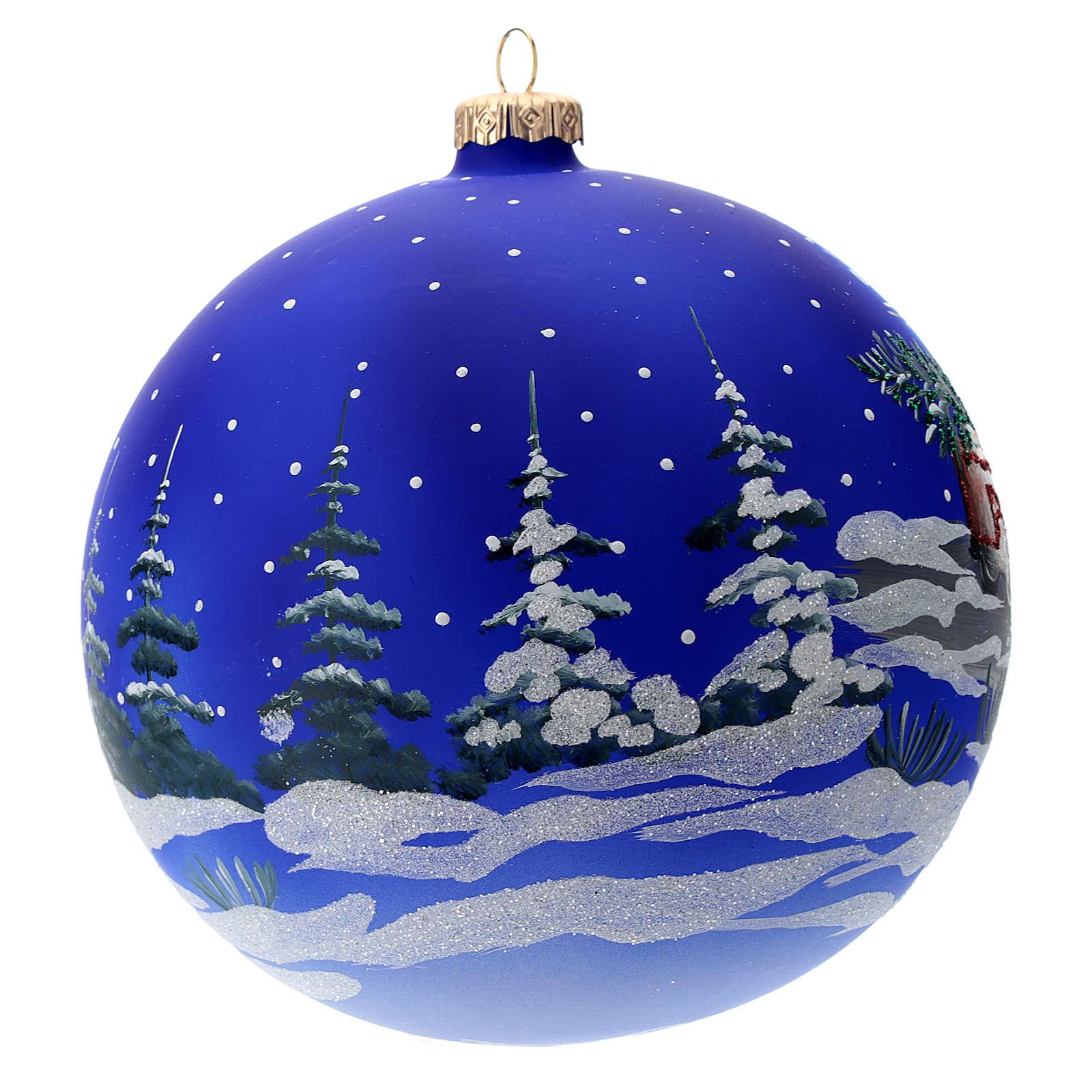 Boule verre traîneau de Père Noël 150 mm 4