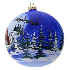 Boule verre traîneau de Père Noël 150 mm s2