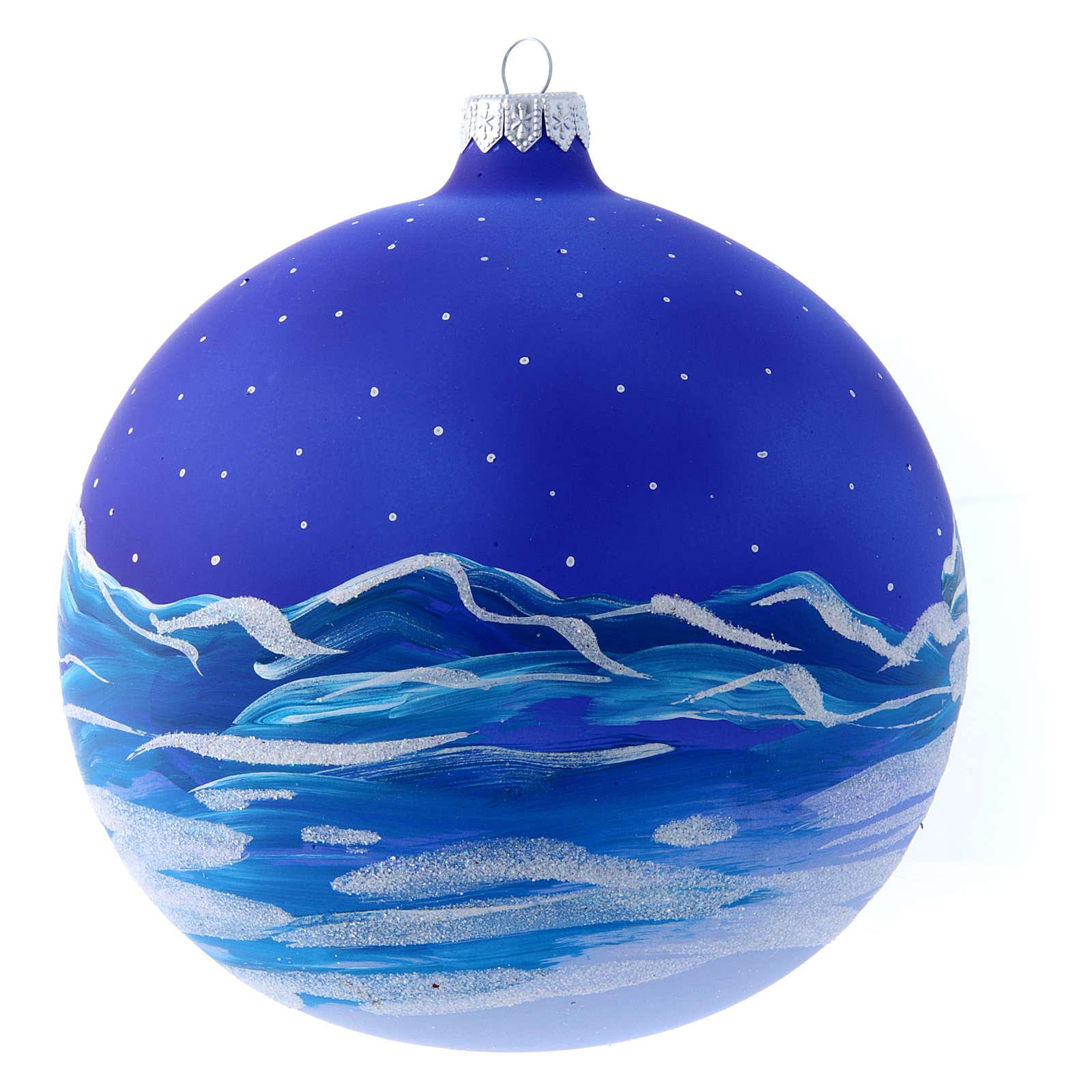 Palla vetro slitta di Babbo Natale 150 mm 4