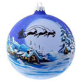Palla vetro slitta di Babbo Natale 150 mm s1
