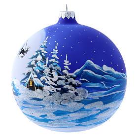 Palla vetro slitta di Babbo Natale 150 mm s2