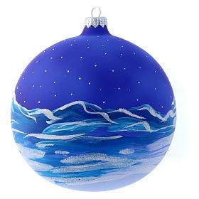 Palla vetro slitta di Babbo Natale 150 mm s3