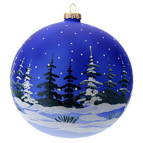Palla vetro slitta di Babbo Natale 150 mm s4