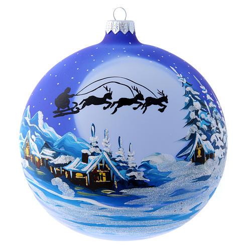 Palla vetro slitta di Babbo Natale 150 mm 1