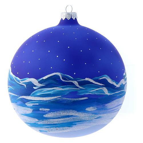 Palla vetro slitta di Babbo Natale 150 mm 3