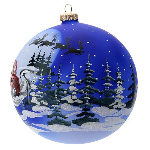 Palla vetro slitta di Babbo Natale 150 mm 2