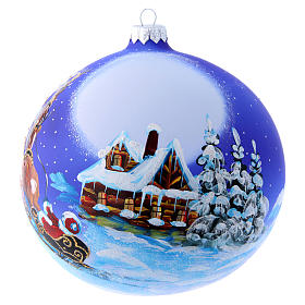 Blown glass Christmas tree ball with Father Christmas on sledge 150 mm s1