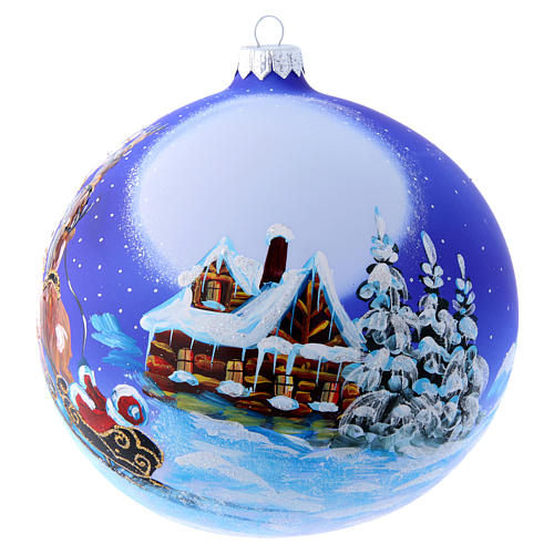 Blown glass Christmas tree ball with Father Christmas on sledge 150 mm 1
