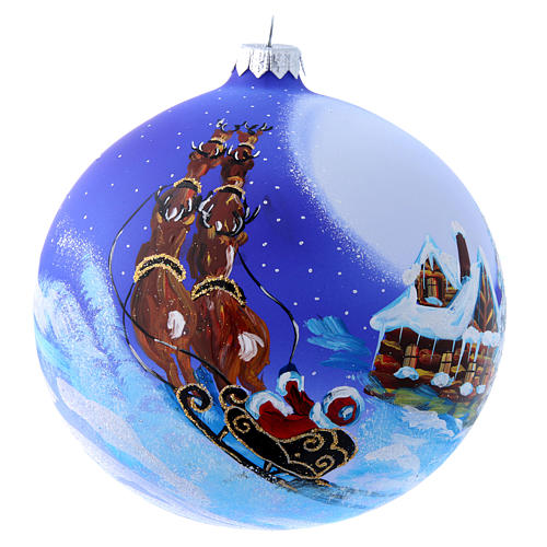 Blown glass Christmas tree ball with Father Christmas on sledge 150 mm 2